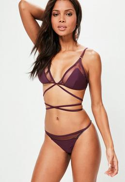 purple triangle mesh detail bikini set