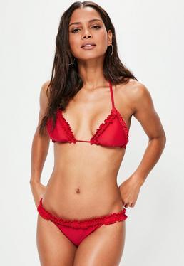 Red Sheared Detail Bikini Set