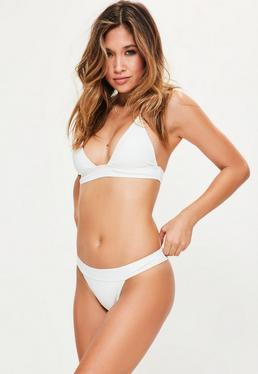 White Neoprene Halter Neck Triangle Bikini Set
