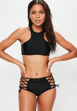 Black Shiny Lace Up Racer Bikini Set