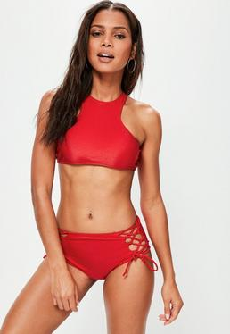 Red Shiny Lace Up Racer Bikini Set