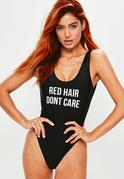 Black Red Hair Don't Care Slogan Swimsuit