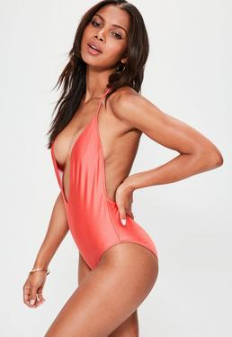 Pink Deep Plunge T Back Swimsuit