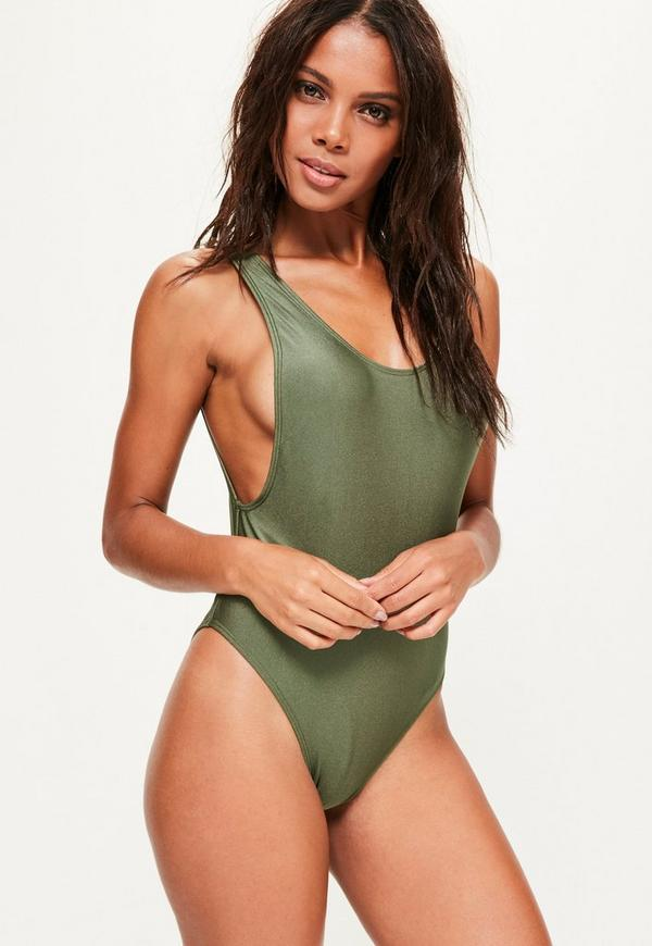 Khaki Low Side High Leg Swimsuit