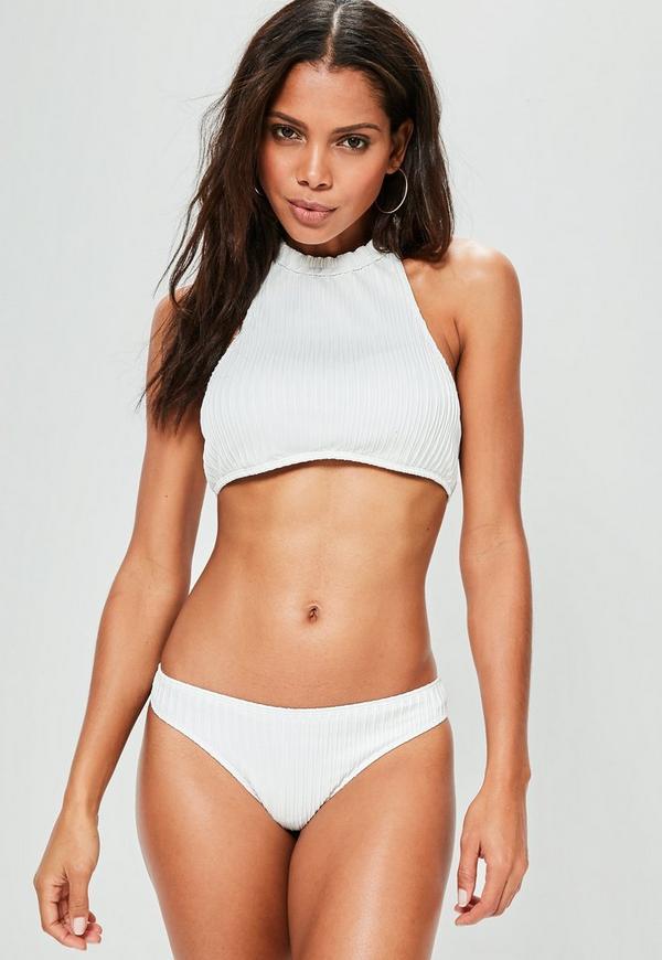White High Neck Textured Bikini Set
