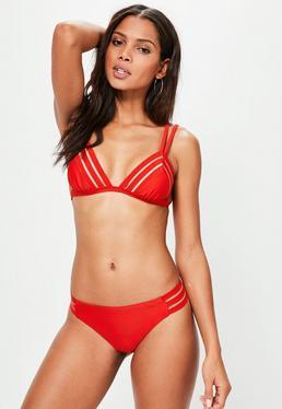 Red Mesh Insert Bikini Set
