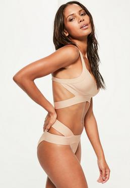 Nude Bandage Crossover Bikini Set