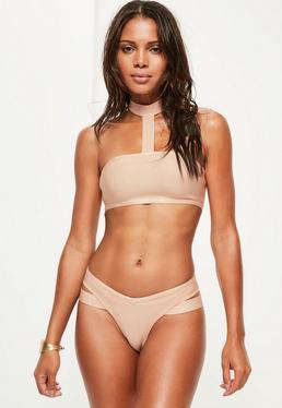 Nude Bandage Clean Choker Bikini Set