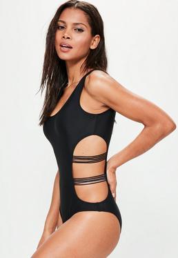Badeanzug mit Mesh Cut-Outs in Schwarz