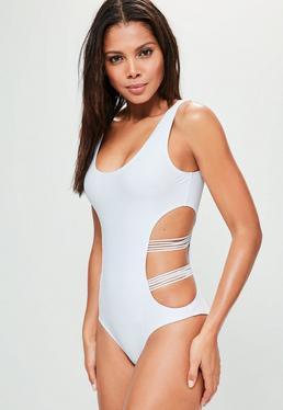 Badeanzug mit Mesh Cut-Outs in Weiß