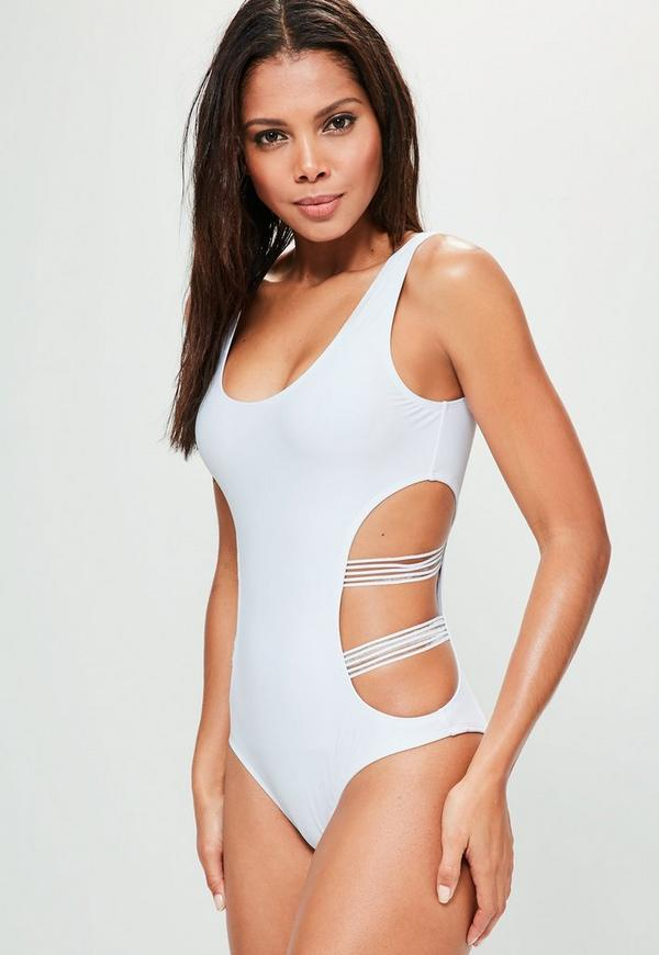 White Mesh Cut Out Swimsuit