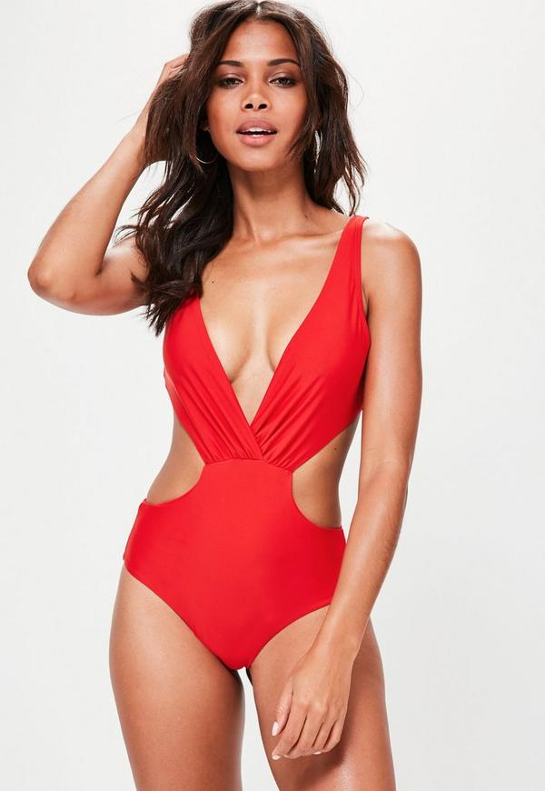 Red Cut Out Plunge Swimsuit