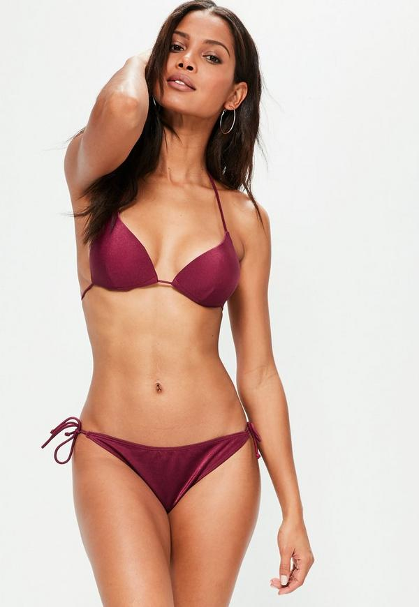 Cherry Red Tie Side Bikini Bottoms - Mix&Match