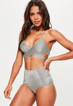Grey Cross Front Bikini Top- Mix & Match