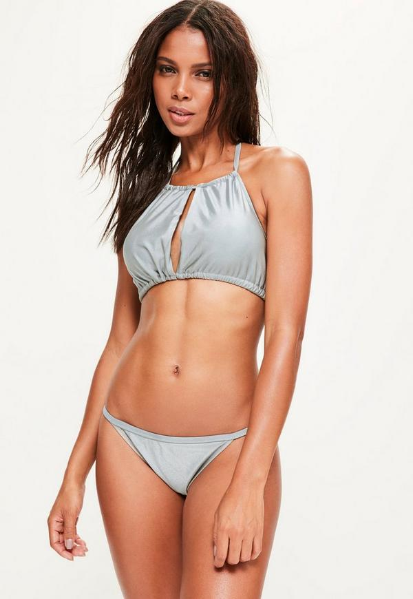 Grey Gathered Open Front Bikini Top - Mix & Match