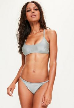 Grey Sporty Cross Back Bikini Top - Mix & Match