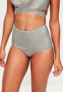 Bas de bikini gris taille haute