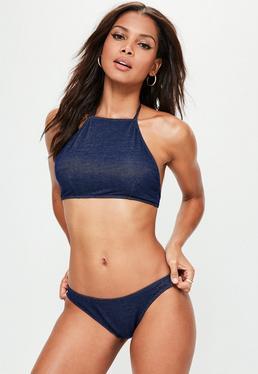 Bikini denim de cuello alto halter en azul marino
