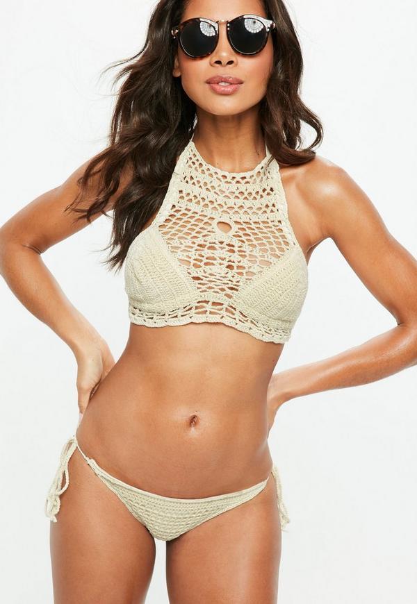 Beige High Neck Tie Side Crochet Bikini Set