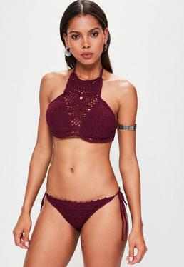Burgundy High Neck Tie Side Crochet Bikini Set