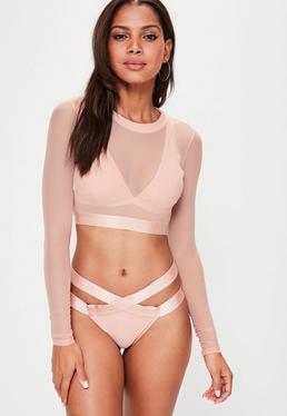 Conjunto bikini ultimate con transparencias en nude