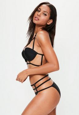 Bügel-Bikini im Käfig-Träger Design in Schwarz