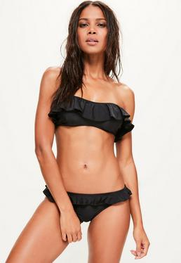 Black Frill Bandeau Bikini Top - Mix & Match