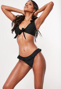 Black Frill Shoulder Bikini Bottoms- Mix & Match