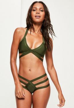 Khaki Strappy Bandage Plunge Bikini Set