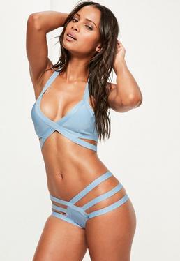 Blue Strappy Bandage Plunge Bikini Set