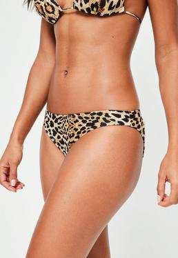 Brown Leopard Print Hipster Bikini Bottoms - Mix&Match