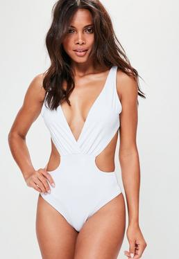 White Cut Out Plunge Swimsuit
