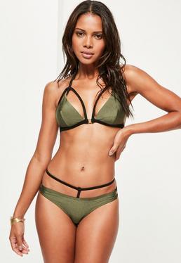 Ensemble bikini kaki avec harnais
