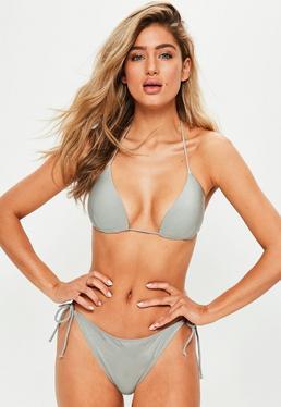 Grey Triangle Bikini Top