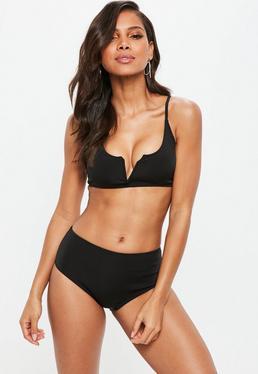 Czarny dwuczęściowy neoprenowy strój kąpielowy Premium z głębokim dekoltem V