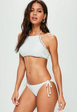 White Textured Crochet Trim Bikini Set