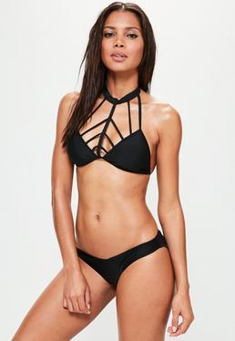 Pack bikini de triángulo con cuello alto y tirantes en negro