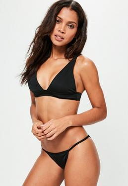 Black Neoprene Clean Triangle Bikini Set