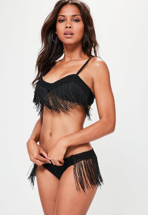 Black Tassel Detail Bikini Set