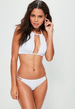 Gerafftes Bikini Top mit offener Vorderseite in Weiß - Mix&Match