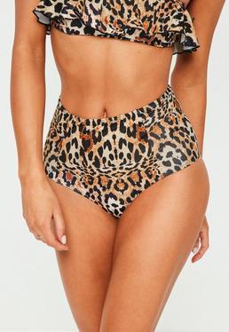Brown Leopard Print High Waisted Bikini Bottoms - Mix&Match