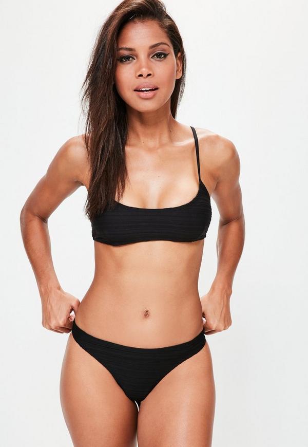 Black Textured Minimal Bikini Set