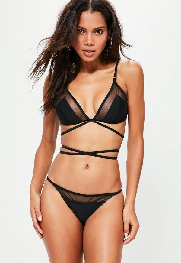 Black Triangle Mesh Detail Bikini Set