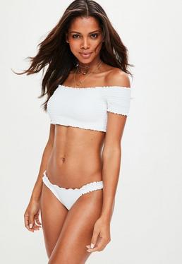 White Ruched Bardot Bikini Set