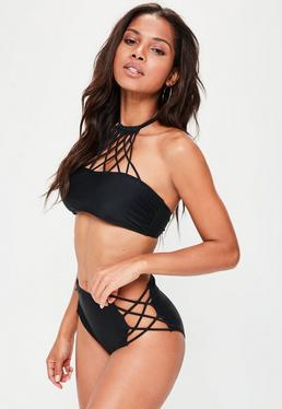 Conjunto bikini halter con tiras entrelazadas en negro