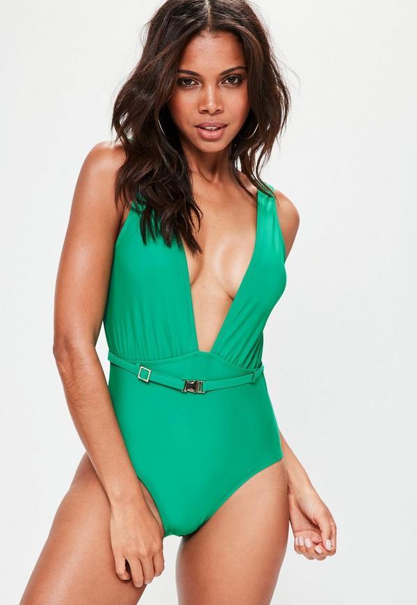 Green Extreme Plunge Belt Swimsuit