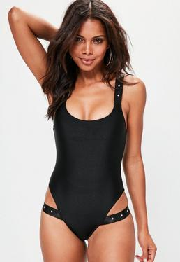 Black Strappy Studded Swimsuit