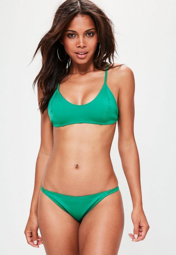 Green Neoprene Minimal Strappy Bikini Set
