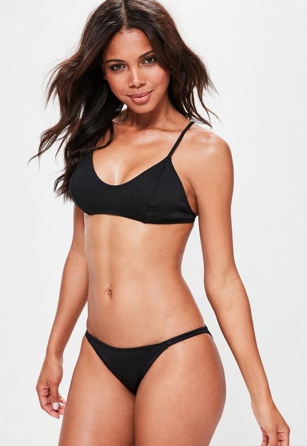 Black Neoprene Minimal Strappy Bikini Set