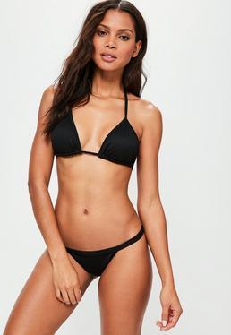 Black Ribbed Triangle Bikini Set